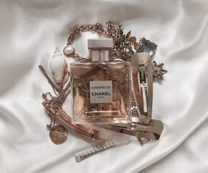 chanel, gold, and perfume image