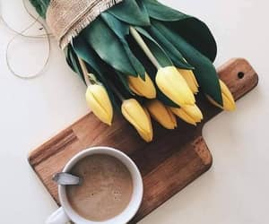 coffee, flowers, and tulips image