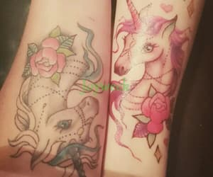 tattoo, temporary, and unicorn image