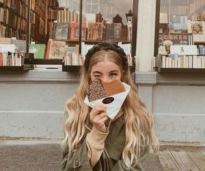 books, food, and girl image