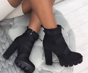 ankle boots, black boots, and boots image