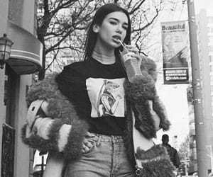 dua lipa, black and white, and singer image