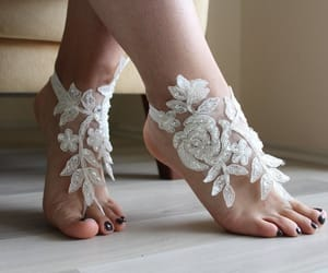 accessories, beach shoes, and bridal barefoot image