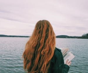 beautiful, girl, and reading image