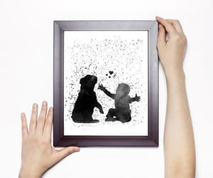 baby, baby with dog, and dog art print image