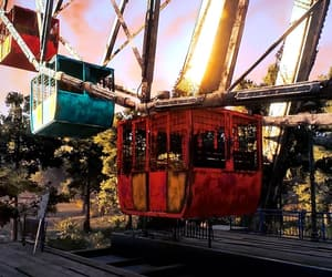 abandoned, sunset, and amusement park image