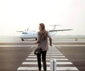 airplane, boarding, and fashion image