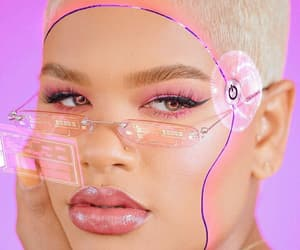 cyber, makeup, and pink image