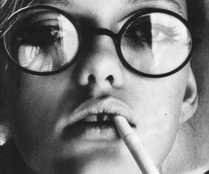 glasses, cigarette, and black and white image