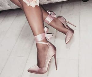 gold rose, pink, and shoes image