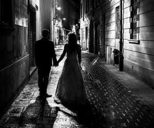 black n white, city, and couple image