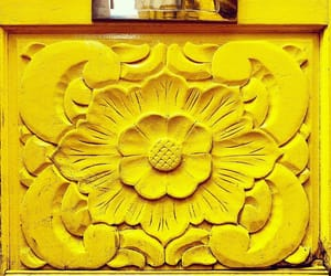 ornamental, wall, and yellow image
