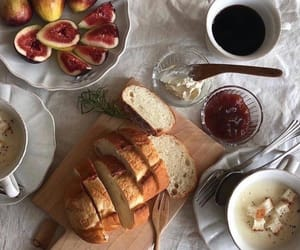 food, coffee, and bread image