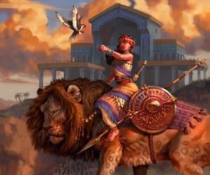 art, bird, and lion image