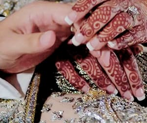 bride, henna, and couple image