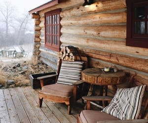 autumn, cabin, and blankets image
