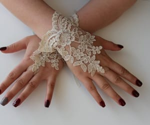 accessories, cappuccino, and lace gloves image