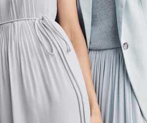 blazer, pleated dress, and satin image