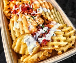 food, fries, and waffle fries image