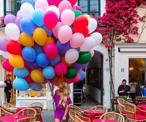 girl, colors, and balloons image