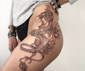 dragon, tattoo, and fashion image