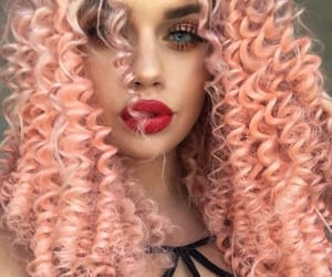 hair, pink, and curly hair image