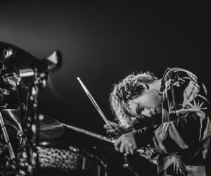 black and white, drums, and stage image