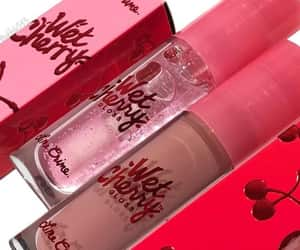 cosmetics, lipgloss, and cherry image