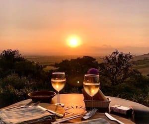 sunset, travel, and wine image