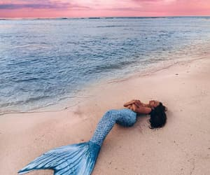 mermaid, girl, and beach image