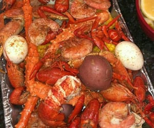 eggs, crab legs, and food image