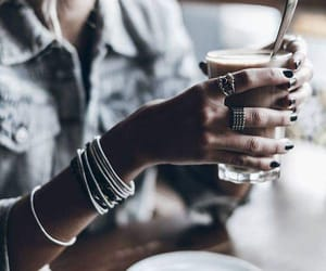 coffee, girl, and grunge image