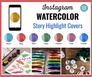 etsy, watercolors, and social media graphic image