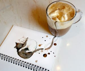 cat, art, and coffee image