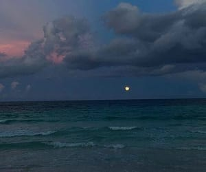 ocean, moon, and sky image