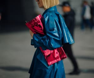 teal, trench coat, and candy wrapper image