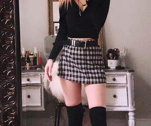 long socks, outfit, and plaid skirt image