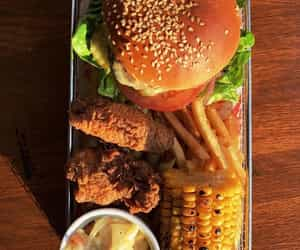 burger, Chicken, and corn image