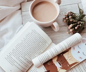 book, chocolate, and coffee image