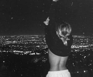 city, girl, and night image