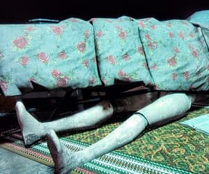 bed, hidden, and blanket image