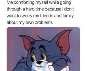 alone, cartoon, and depressed image