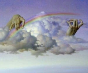 rainbow, clouds, and art image