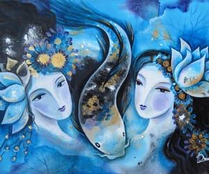 bird, koi fish, and goddess image