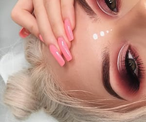beauty, eyebrows, and pink makeup image
