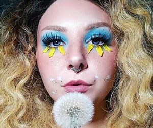 dandelion, flowers, and makeup image