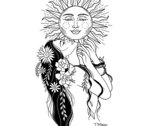 drawing, sun, and girl image