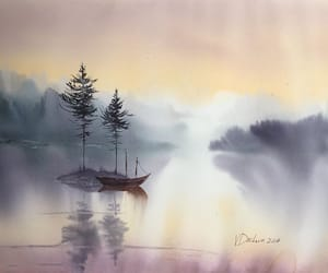 art, landscape, and traditional art image