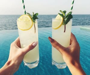 drink, lemon, and beach image