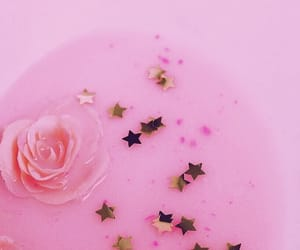 pink, stars, and rose image
